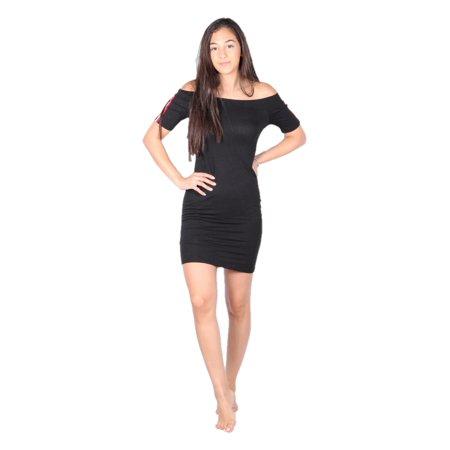 Girls Dress Sites (Lori&Jane  Girls Black Site Stripe Sleeve Off Shoulder)