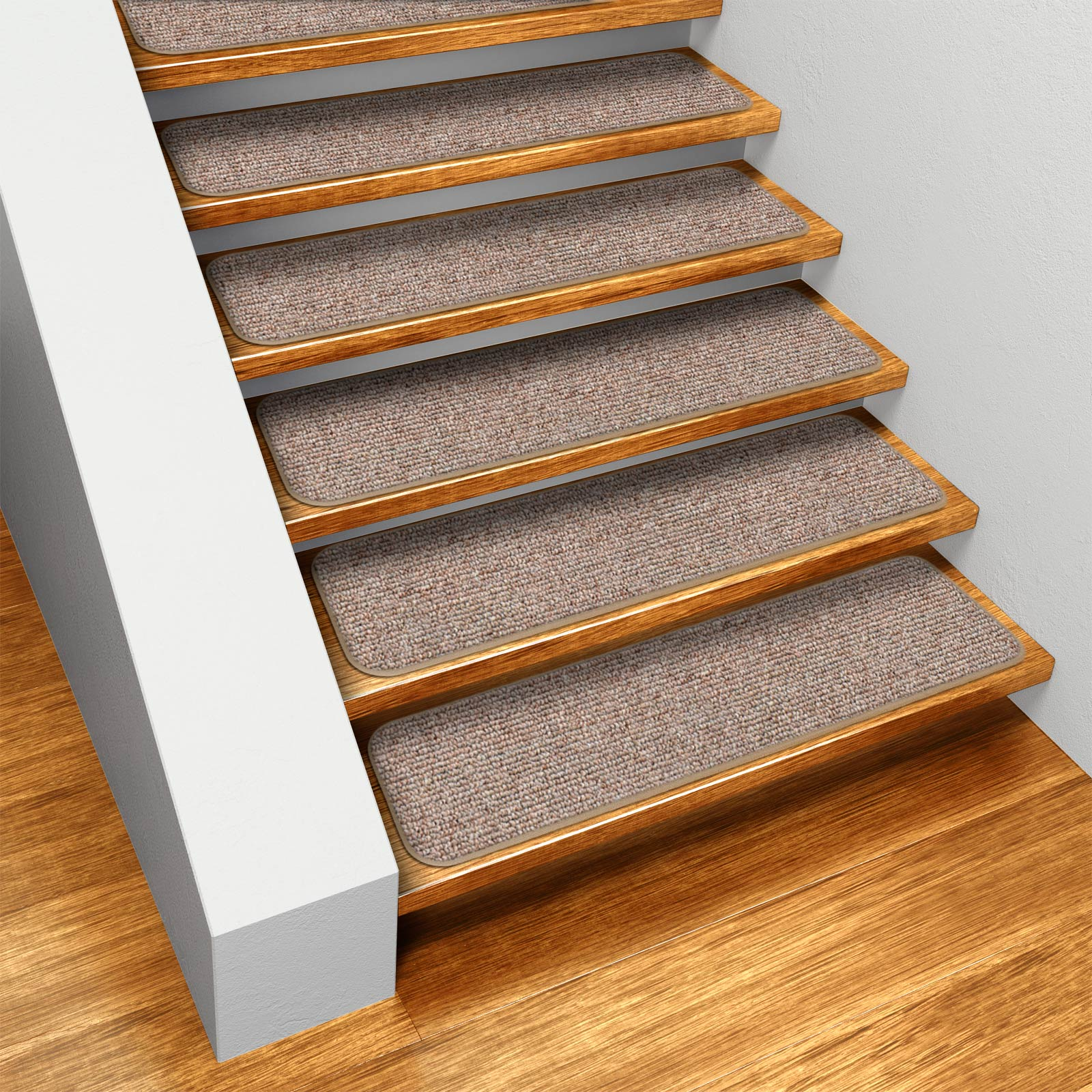 Set Of 12 Skid Resistant Carpet Stair Treads   Pebble Beige   8 In.
