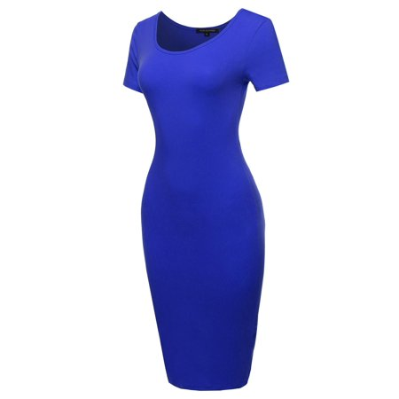 FashionOutfit Women's Basic Short Sleeve Scoop Neck Stretch Midi Dress - Belle Dress For Women