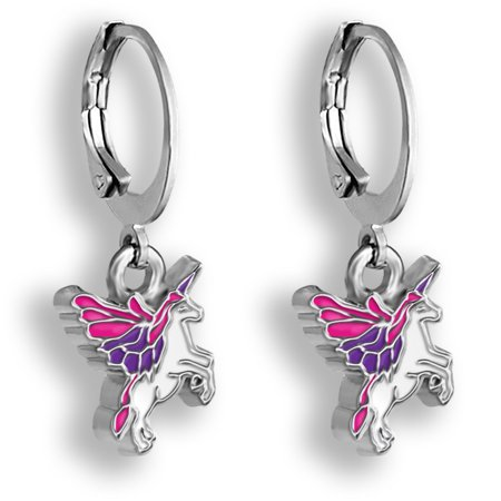 Pink and Purple Pegasus Unicorn Jewelry Hoop Earrings For Girls Flying Unicorn Earrings For Girls Little Girls Earrings For Toddlers And Teens Huggie Hoop Earrings Little Girls Dangle - Pegasus Earrings