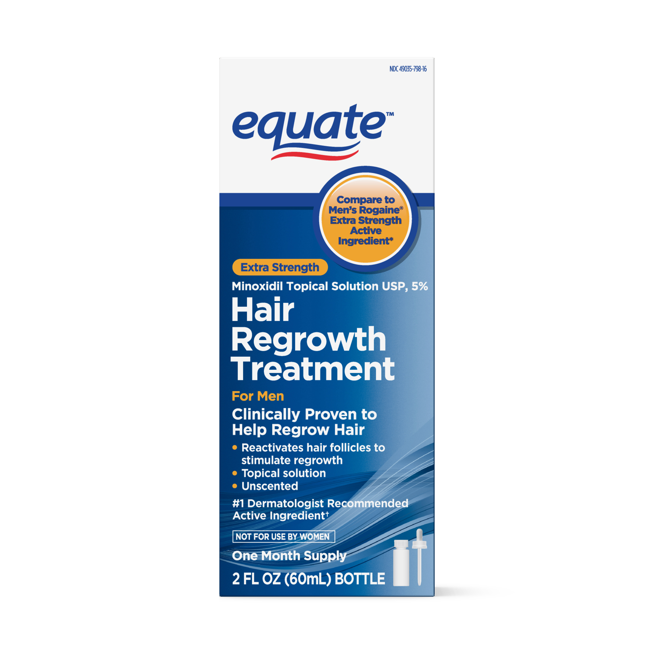 Equate Men's Minoxidil Hair Regrowth Treatment for Men, 1-Month Supply