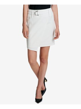 DKNY Womens Ivory Asymmetrical Hem Above The Knee Faux Wrap Wear To Work Skirt Plus  Size: 12