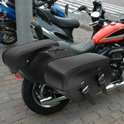 2x PU Motorcycle Harley Universal Saddle Bags Cross Rider Panniers Tool Luggage by