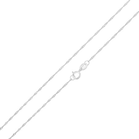 14K White Solid Gold 0.9mm Singapore Chain Necklace with Spring Ring Clasp (White Gold Spring)