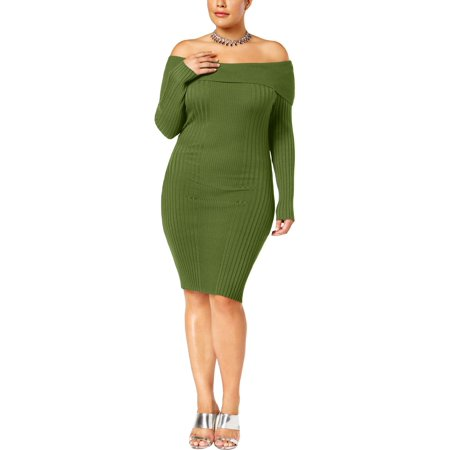 Say What? Womens Plus Off-The-Shoulder Party Bodycon Dress