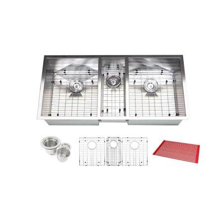 Contempo Living Inc Triple Bowl 42-inch Stainless Steel Undermount Zero Radius Kitchen Sink (16 Gauge Combo) - Stainless Steel