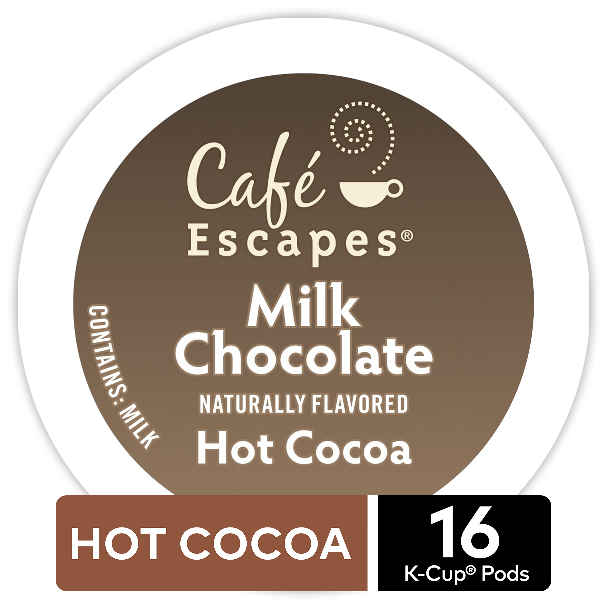 Café Escapes Milk Chocolate Hot Cocoa, Keurig K-Cup Pods, Specialty Beverage, 16 Count