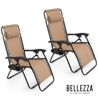 BELLEZE Tan Anti Gravity Chairs Set of 2 Comes With Tray Cup Holder Mobile Device Slot Holder Rust Resistant