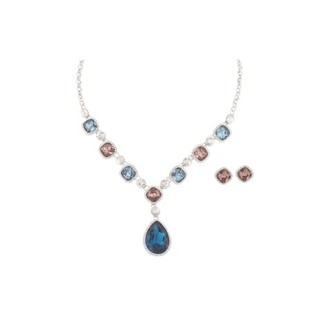 Fashion Jewelry Set Silver Plating Multi Color Rhinestone Necklace Earrings -