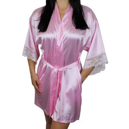 01df598715 Ms Lovely - Women s Satin Kimono Bridesmaid Short Robe Lace Trim Sleeves -  Light Pink XS S - Walmart.com