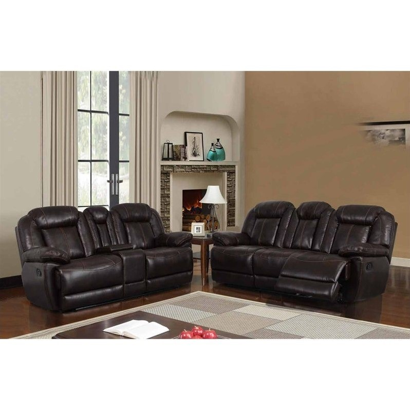Global Furniture USA 2 Piece Reclining Faux Leather Sofa Set in Brown