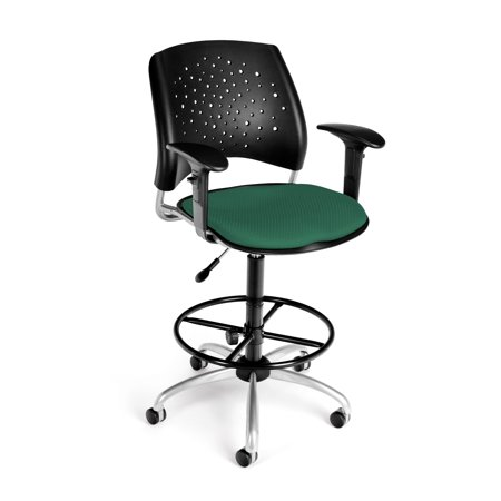 Ofminc Office Furniture Starmoon Series Triple-Curve Fabric Seat Design Swivel Shamrock Green Stool Reception Arms