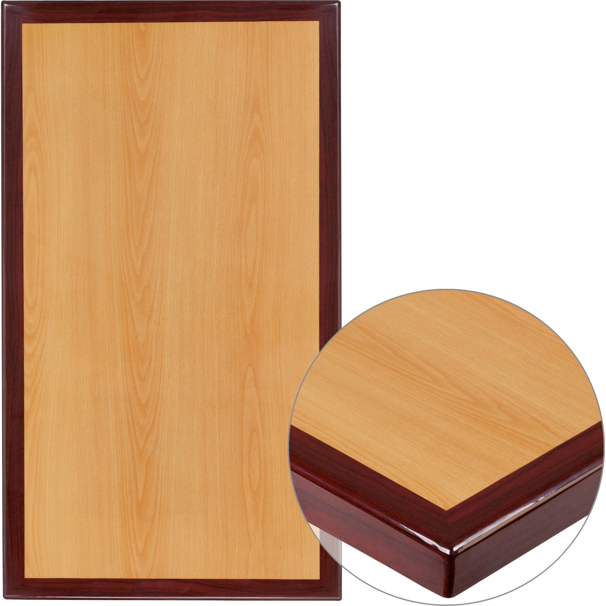 Flash Furniture 30'' x 45'' Rectangular Two-Tone Resin Cherry and Mahogany Table Top