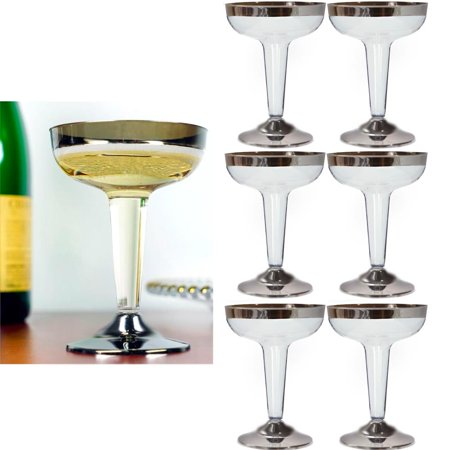 6 Plastic Champagne Wine Flutes Disposable Glasses 4oz Wedding Party Silver New