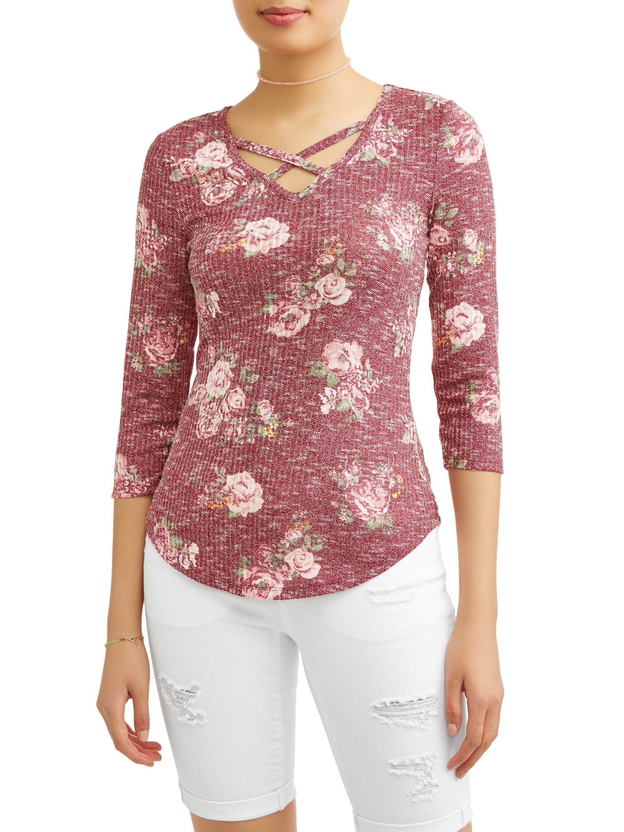 a073fb5b No Boundaries - Juniors' Floral Printed Criss Cross V-Neck 3/4 Sleeve T- Shirt - Walmart.com