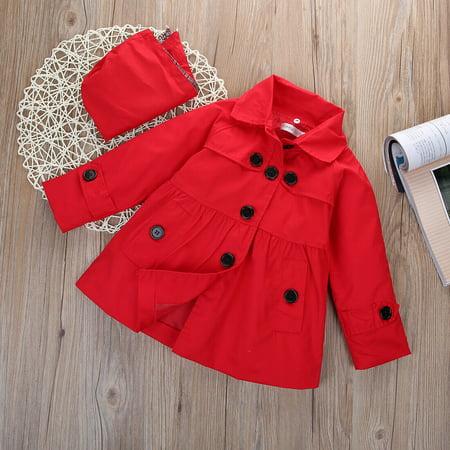 SUNSION Girl Kids Hooded Long Trench Rain Coat Jacket Parka Fleece Outwear Spring ()