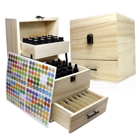 (SXC 59 Slots Essential Oil Wooden Box Storage Case, 3 Tiers Holds 59 Bottles & Rollerballs for Your 5ml, 10ml,& 15ml Oils)