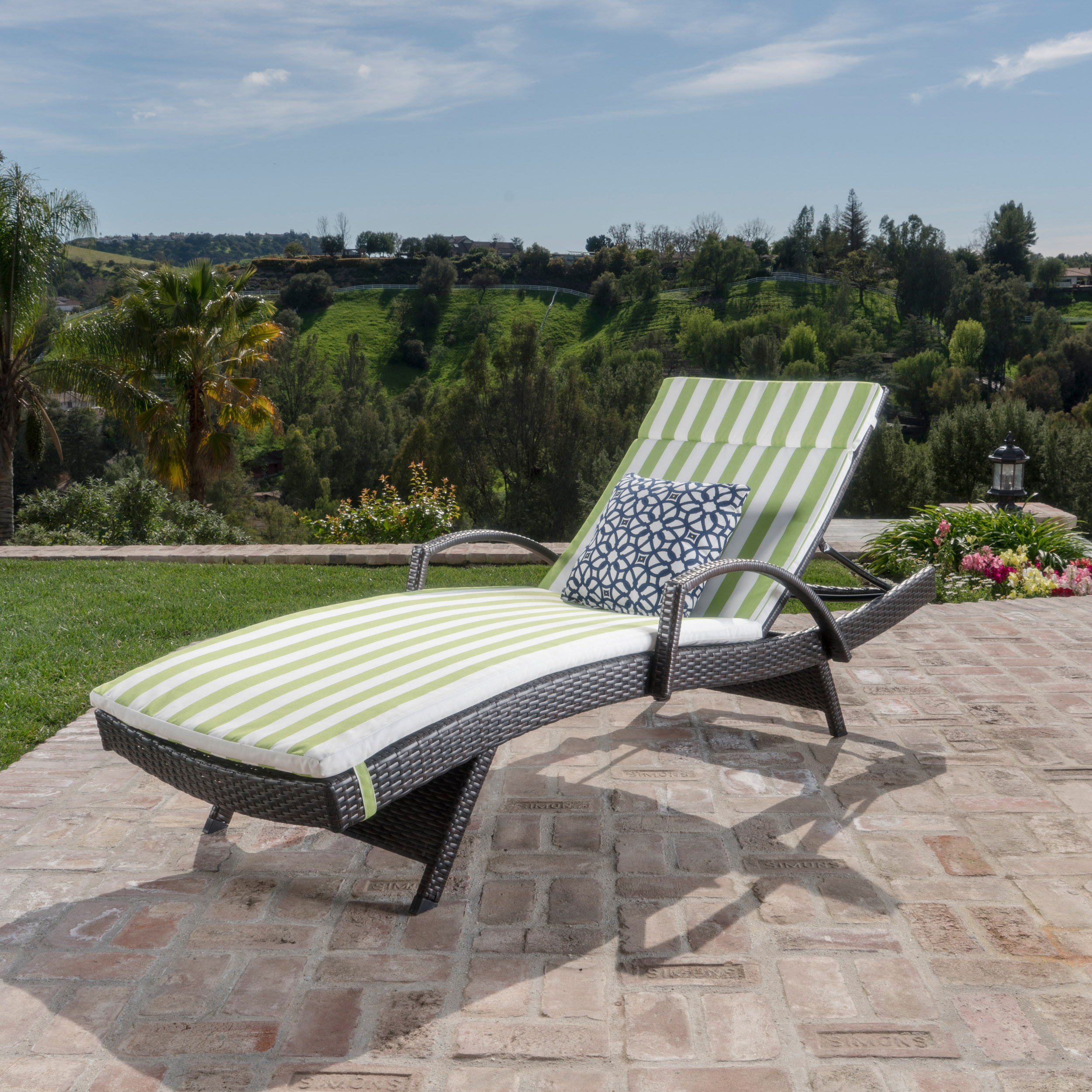 Anthony Outdoor Wicker Lounge with Arms with Cushion, Multibrown, Green and White Stripe