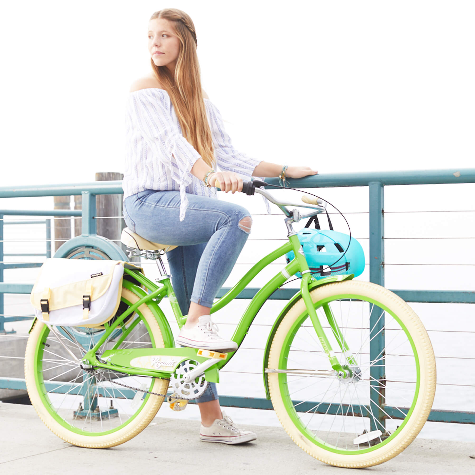 "Huffy 26"" Regatta Women's 3-Speed Cruiser Bike with Perfect Fit Frame, Green"