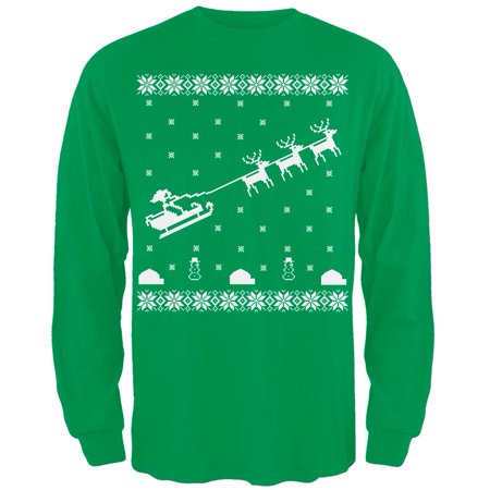 Flying Santa Sleigh Ugly Christmas Sweater Green Adult Long Sleeve T-Shirt](Did Santa Wear Green)