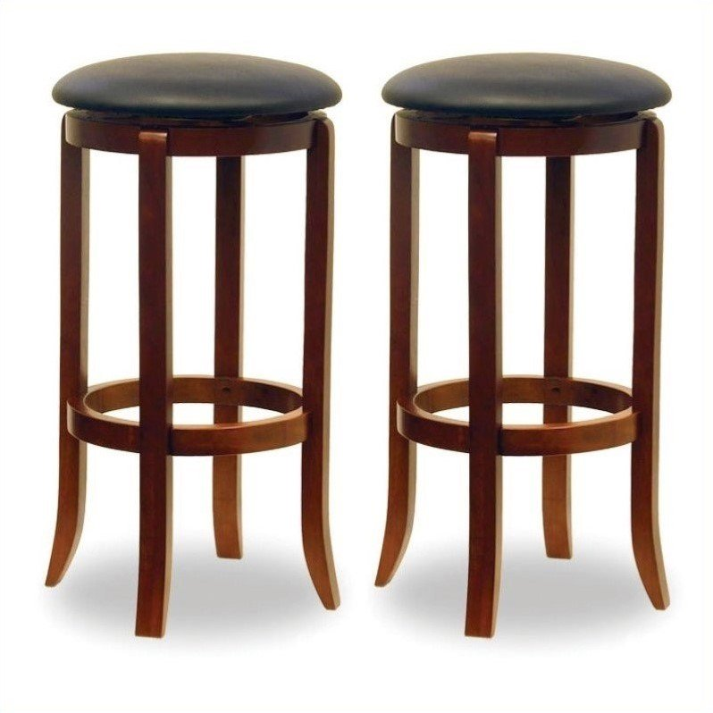 30  Swivel Bar Stools with Faux Leather Seat Set of 2 Black and  sc 1 st  Walmart & 30