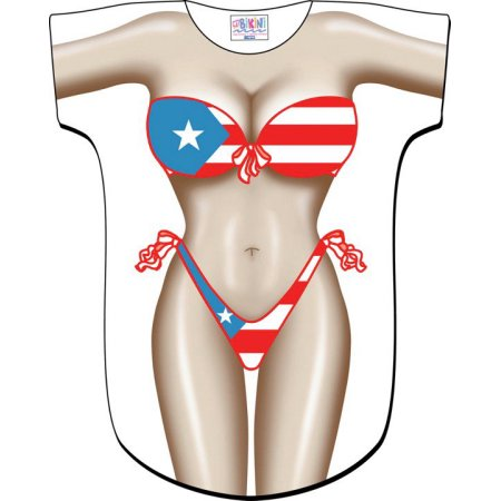 Puerto Rican Flag Bikini Tee Shirt - Cover-Up #40 (One Size Fits Most)