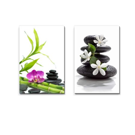 Wall26 Purple Orchid with Bamboo and Black Stones Tiare Flowers with Zen Stone Spa Concept - Canvas Art Wall Decor - 16