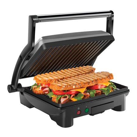 Chefman Panini Press Grill and Gourmet Sandwich Maker, Non-Stick Coated Plates, Opens 180 Degrees to Fit Any Type or Size of Food, Stainless Steel Surface and Removable Drip Tray - 4 Slice - Small Sandwiches