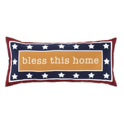 Bless this Home Patriotic Patio Furniture Lumbar Accent Pillow for Outdoors
