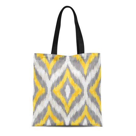 ASHLEIGH Canvas Bag Resuable Tote Grocery Shopping Bags Fall Yellow and Grey Ikat Ogee Pattern Autumn Summer Winter Spring Accessory Ani Tote