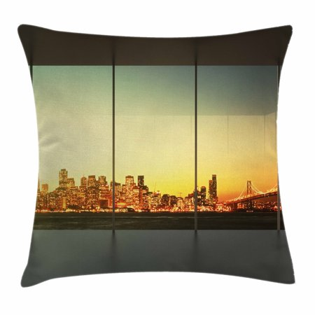 Modern Decor Throw Pillow Cushion Cover, Empty Office at Sunset with View to Skyline Architecture Downtown City, Decorative Square Accent Pillow Case, 18 X 18 Inches, Orange Grey Green, by - Skyline Square