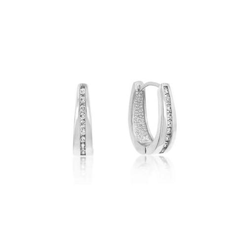 Kate Bissett E01207R-C01 Genuine Rhodium Plated Small Hoop Channel Set Round Cut Clear CZ Earrings in Silvertone
