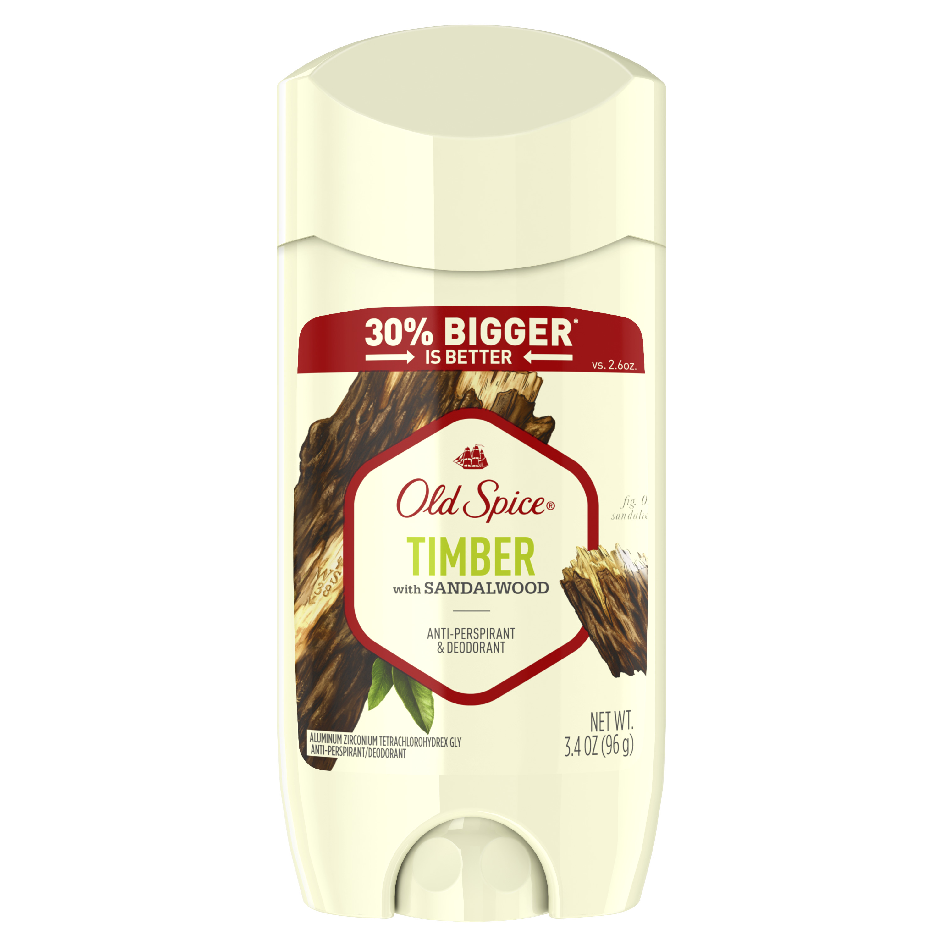 Old Spice Invisible Solid Antiperspirant Deodorant for Men Timber with Sandalwood Scent Inspired by Nature 3.4 oz