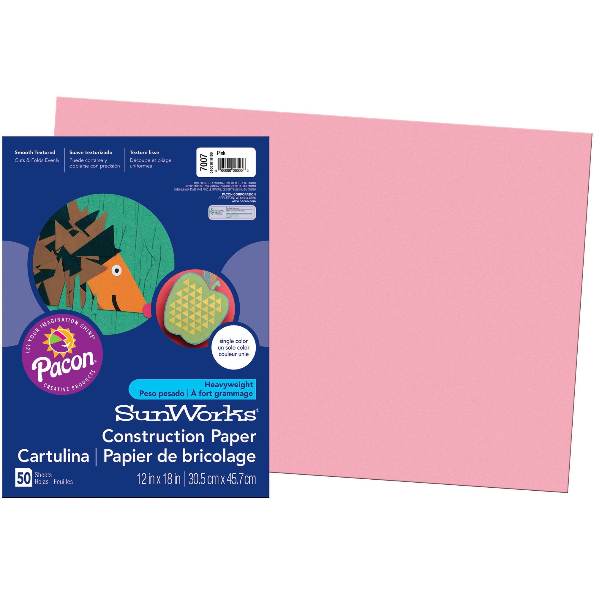 SunWorks, PAC7007, Construction Paper, 50 / Pack, Pink
