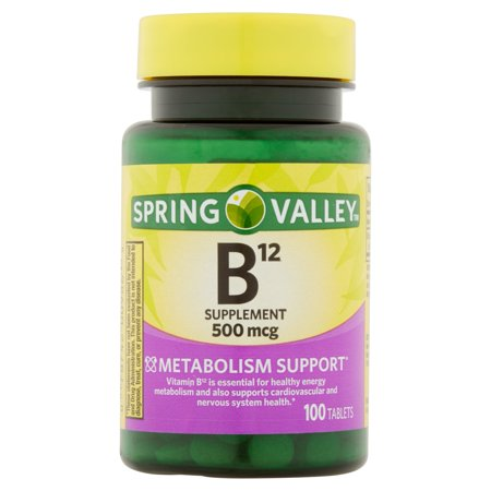 Spring Valley La vitamine B12 naturelle Comprimés, 500mcg, 100 count