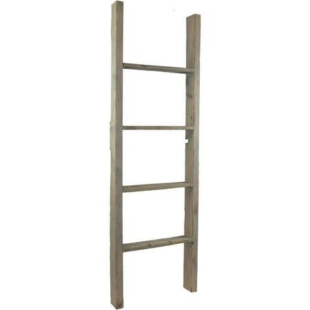 "19""W X 60""H X 3 1/2""D Vintage Farmhouse 4 Rung Ladder, Barnwood Decor Collection, Reclaimed Grey by Ekena Millwork"
