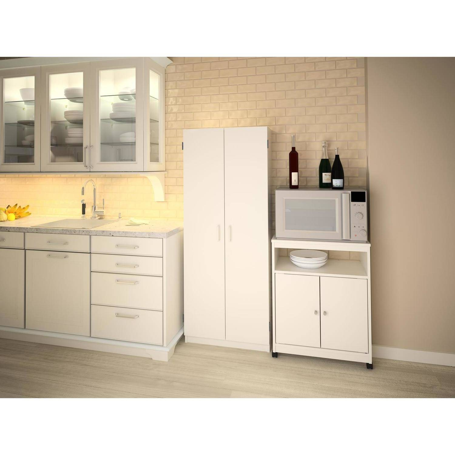 Ameriwood Landry Kitchen Microwave Cart, White
