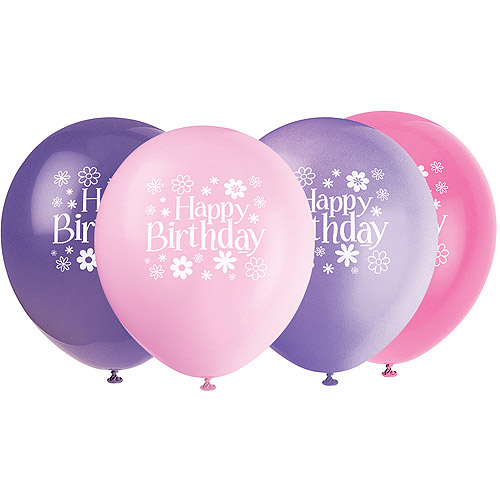 "12"" Birthday Blossom Balloons, Assorted Colors, 8ct - Walmart.com"