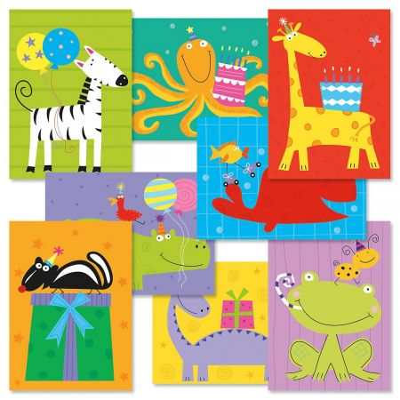 Kids Birthday Cards Value Pack - Set of 16 (2 of each)