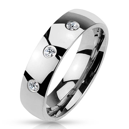 6mm 3 Clear CZ Set Classic Dome 316L Stainless Steel Wedding Band (SIZE: 5)