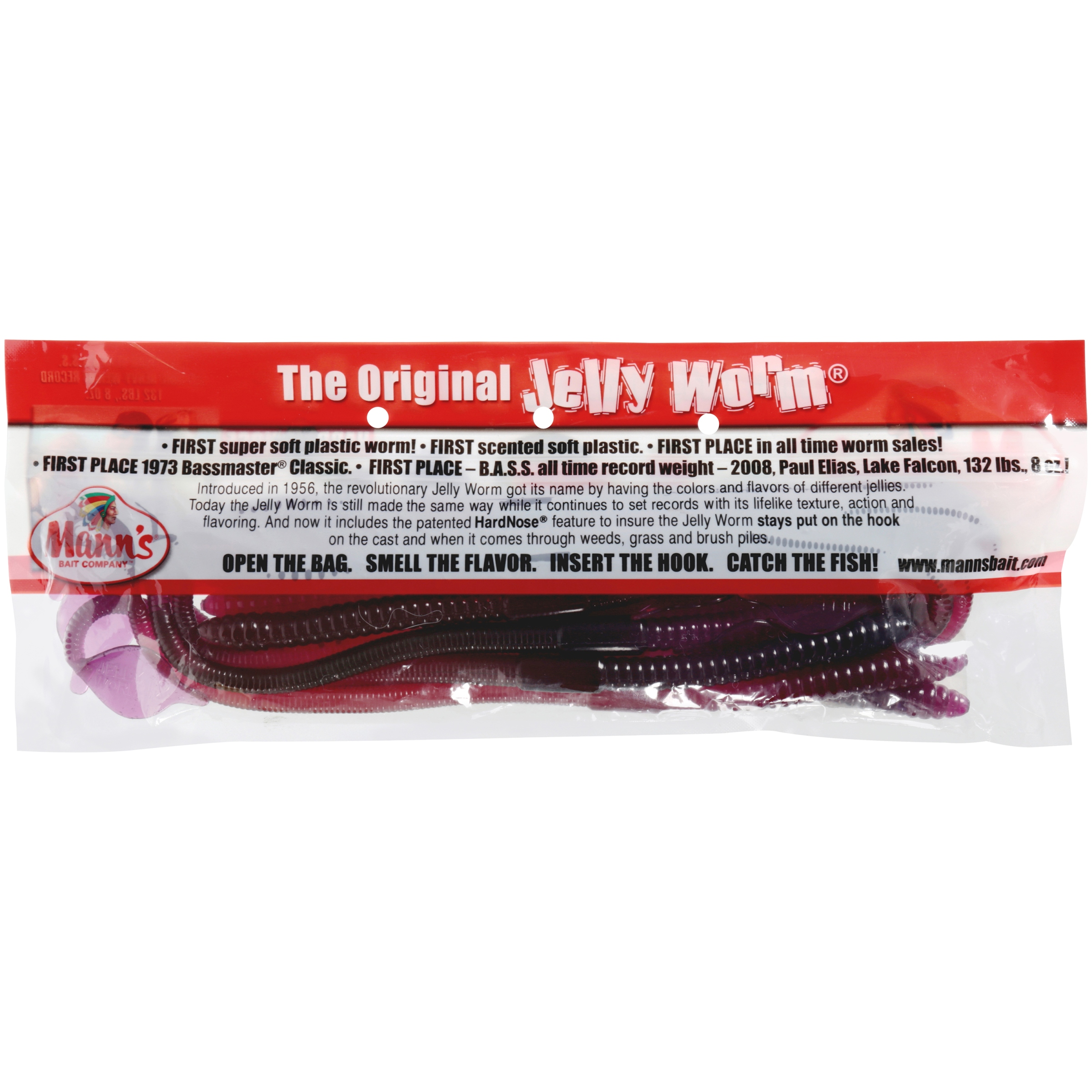 """Mann/'s 12 pack of 6/"""" Hard Nose Worms with Unique Tail HNW6-21 in ELECTRIC GRAPE"""