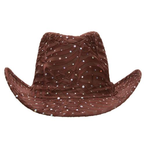 Glitter Sequin Trim Cowboy Hat
