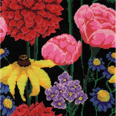 Midnight Floral Needlepoint Kit  12  X 12  Stitched In Acrylic Yarn