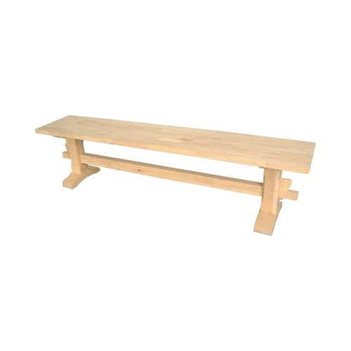 Bundle-08 International Concepts Solid Parawood Trestle Bench (4 Pieces)