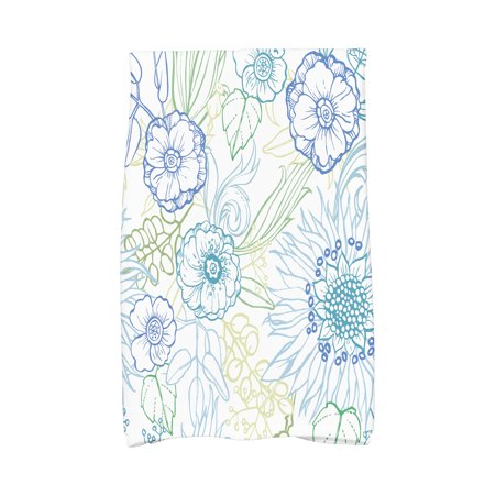 Blue Floral Dish (Simply Daisy, 16 x 25 Inch, zentangle 4 Color, Floral Print Kitchen Towel,)