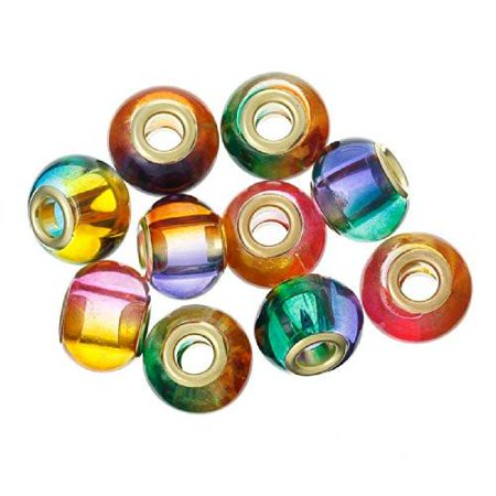 - (10) Assorted Multi  Mixed Glass European Lampwork Charm Beads (Solid)