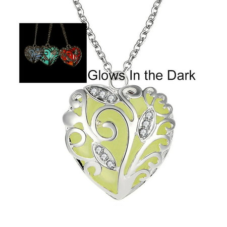 Glow In The Dark Hearts Necklace - Ginger Lyne Collection (Glow In Dark Necklaces Wholesale)