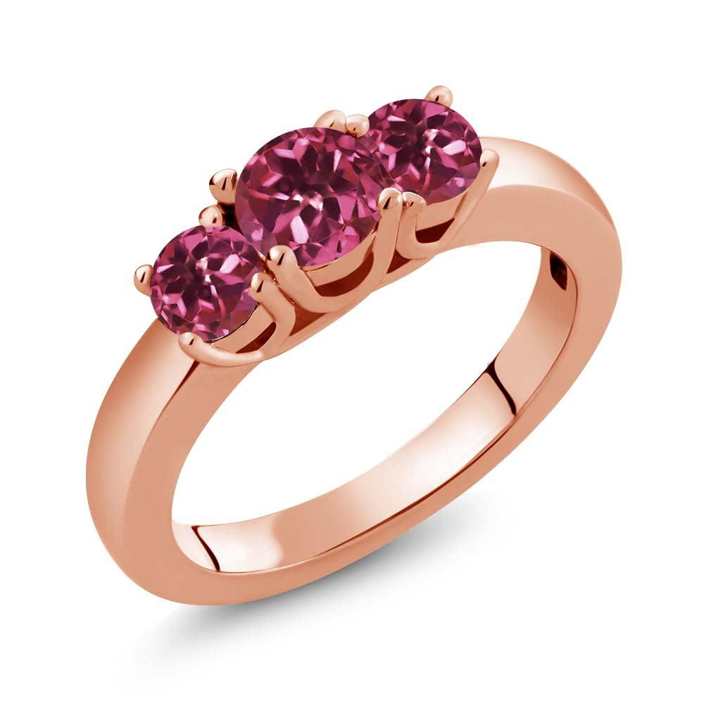 0.98 Ct Round Pink Tourmaline 18K Rose Gold Ring by