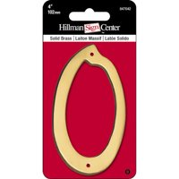 Hillman Group 847042 4 in. Brass Nail-On Traditional House Number 0   - 3 per Pack 3 Piece