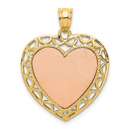 14k Two Tone Yellow Gold Lace Trim Heart Pendant Charm Necklace Love